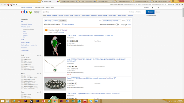 Jewelry not to sell on ebay
