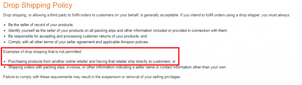 Amazon dropshipping policy