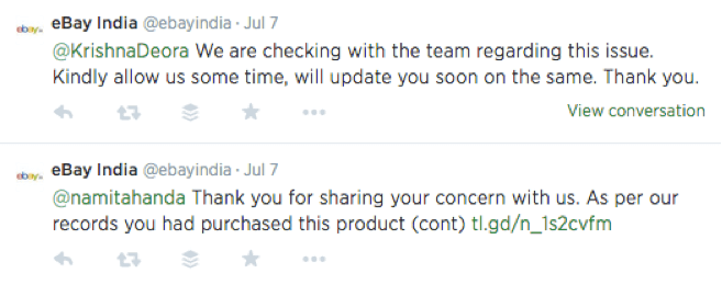 eBay India customer service on twitter