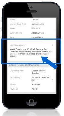 eBay Mobile Description Summary