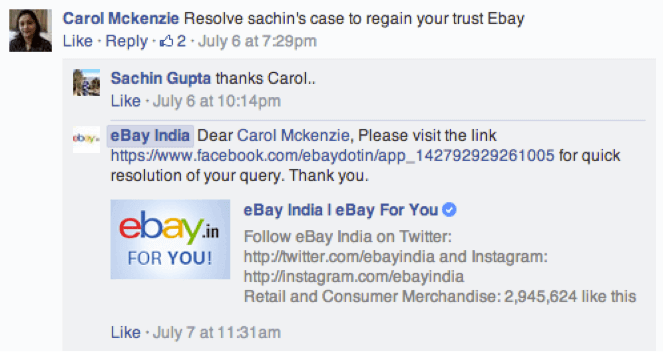 eBay customer service on Facebook example