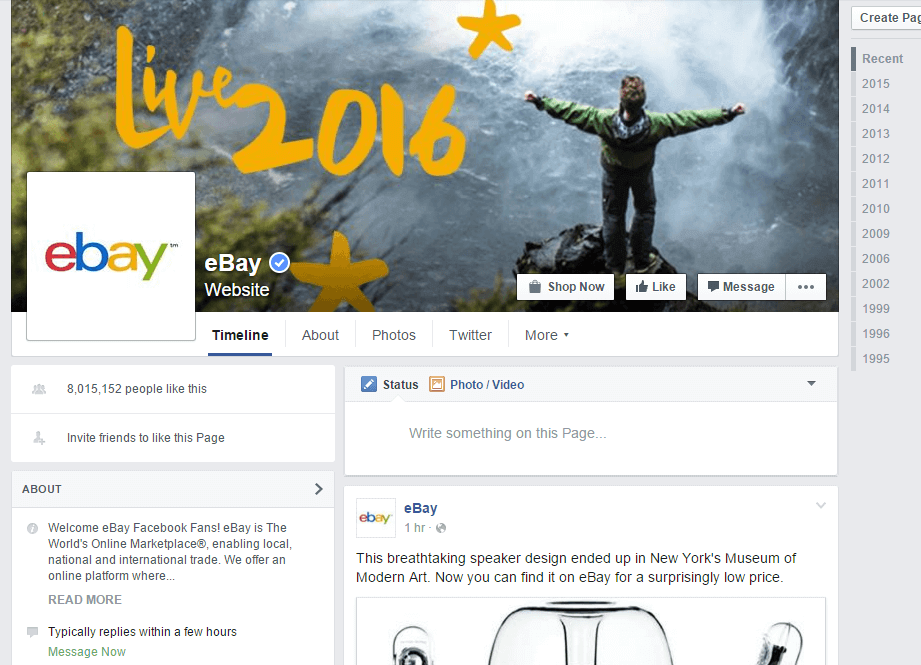 eBay customer service on Facebook