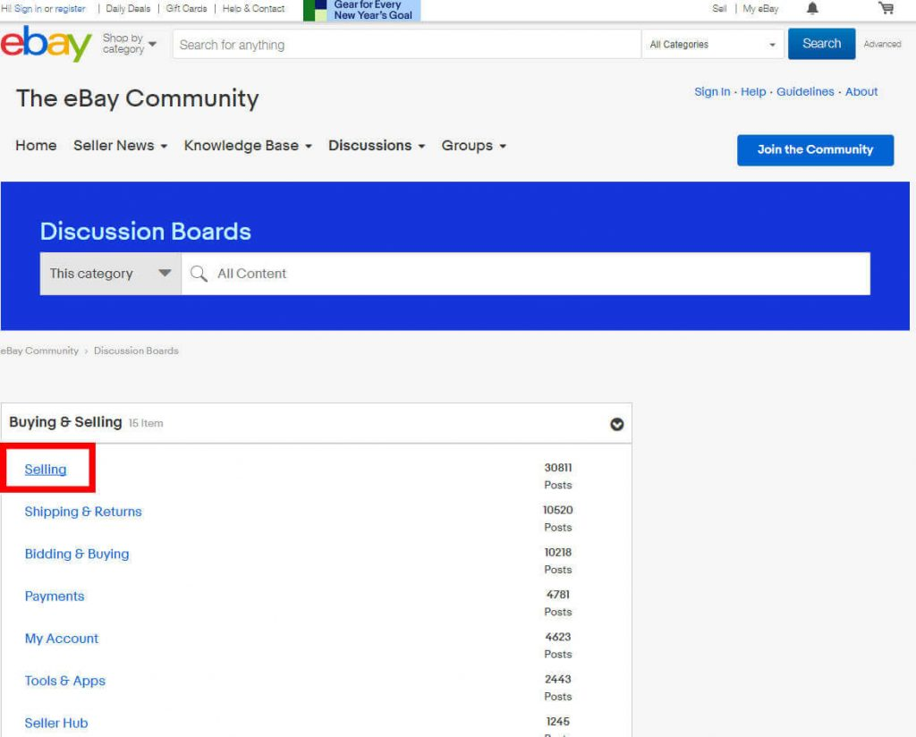ebay community support choose topic