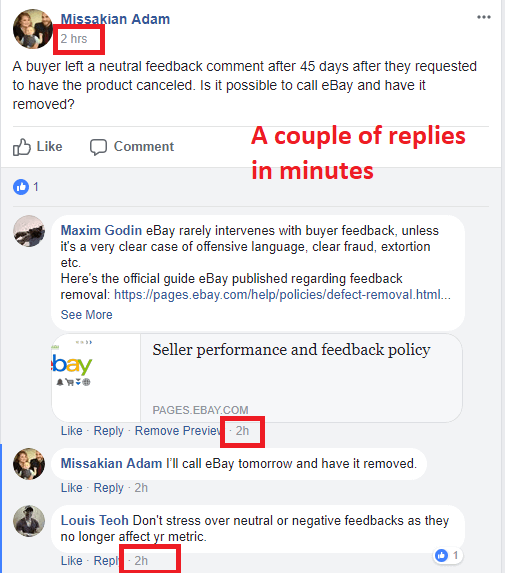 ebay seller helping in facebook