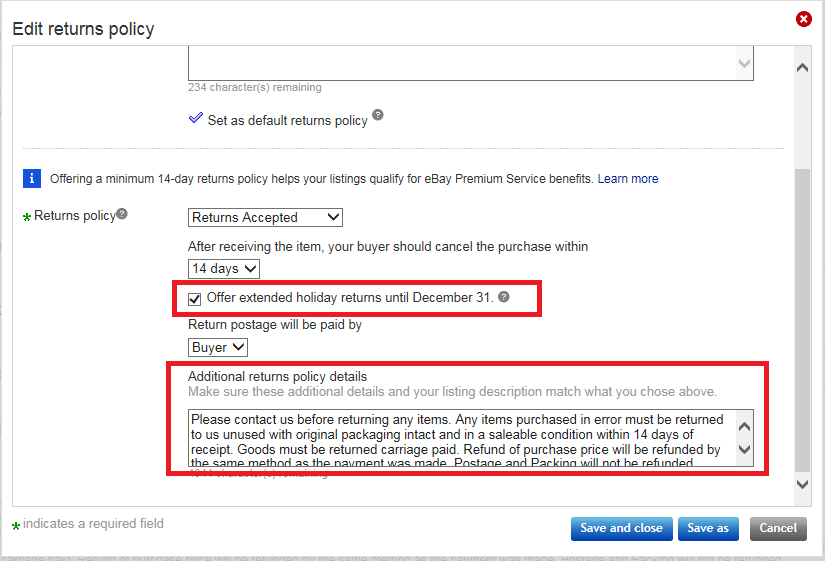 extended ebay return policy