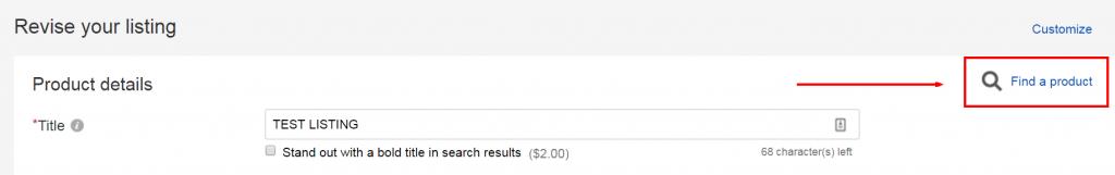 Associate a live listing to an eBay catalog product
