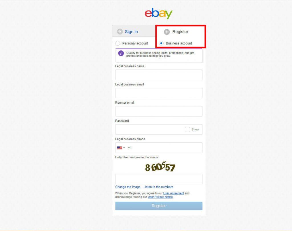 register ebay business account