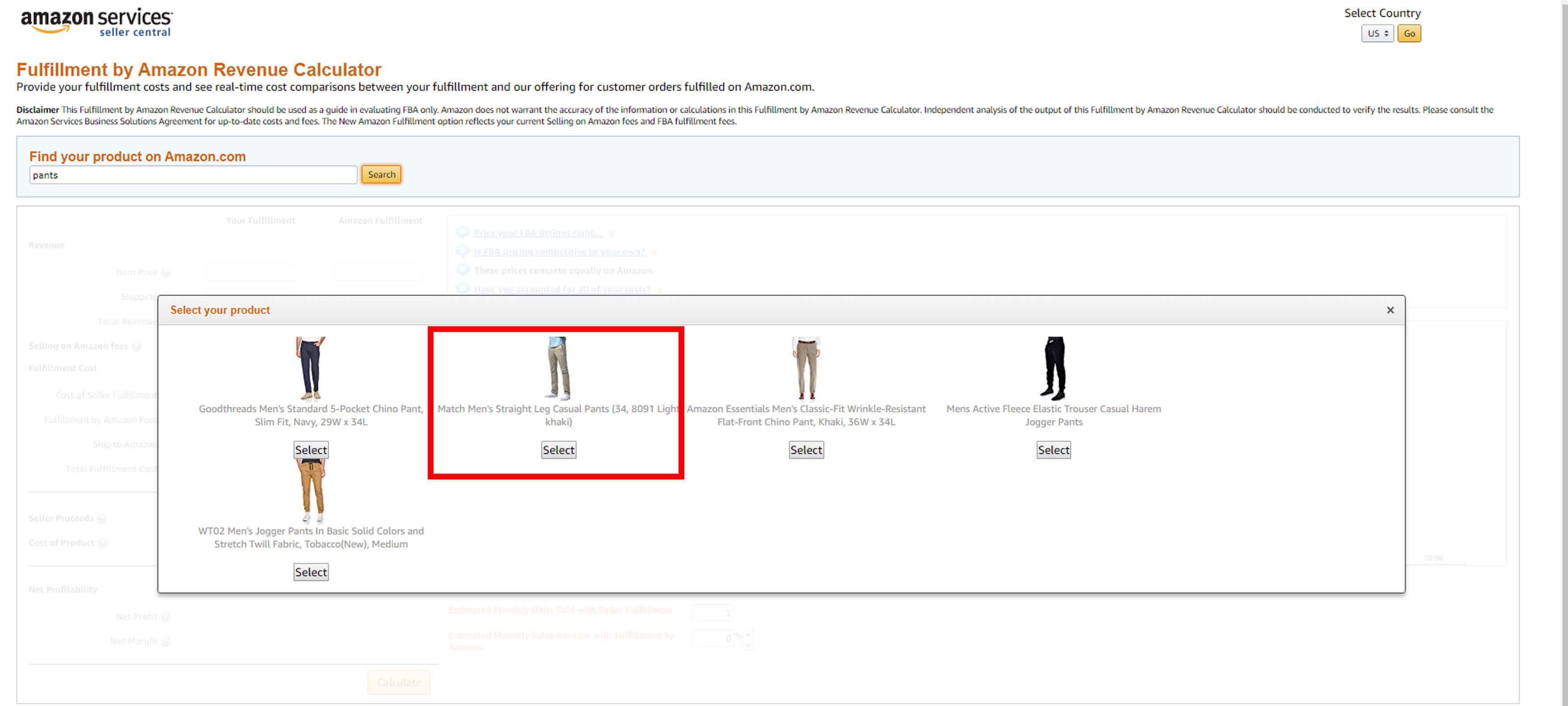 fba fee example pants