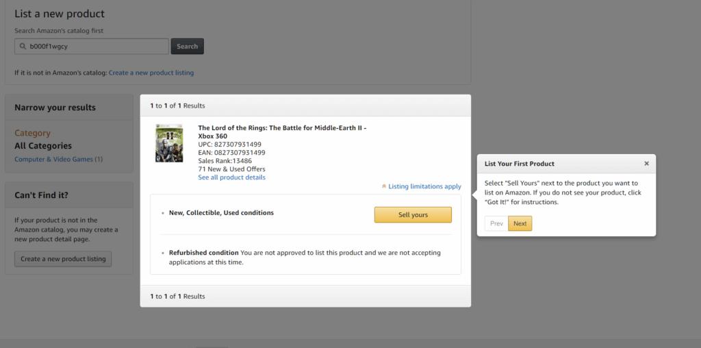 Select Amazon product