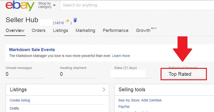 ebay seller status
