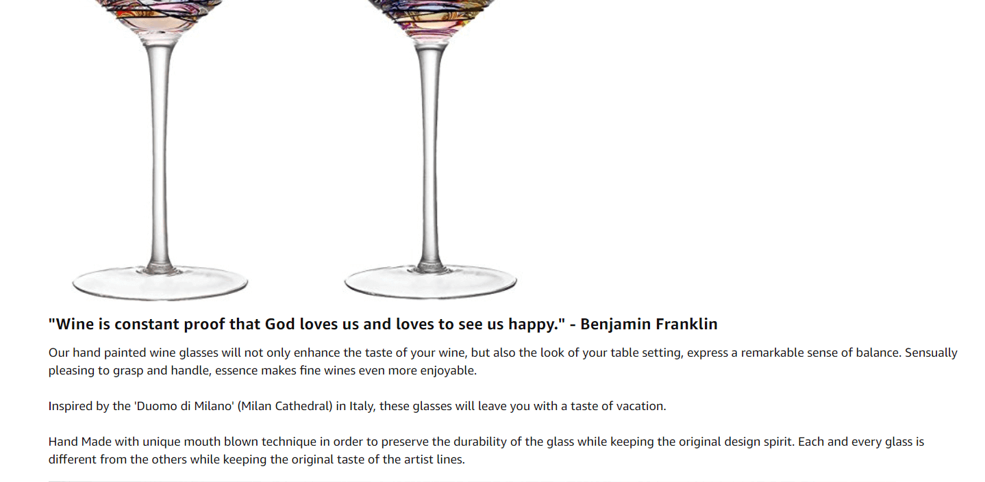 amazon product Description