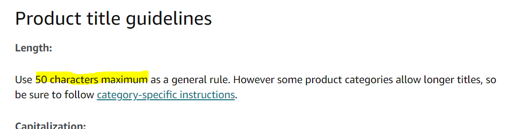 amazon title description length 50