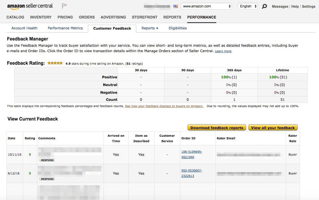 amazon seller feedback breakdown
