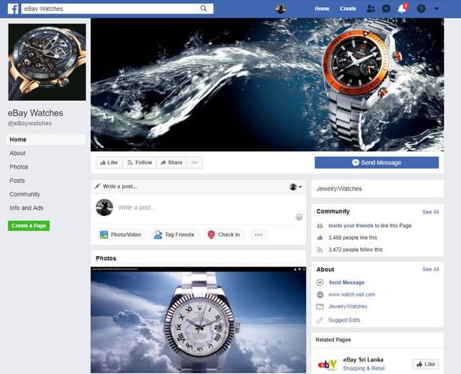 competitor facebook page