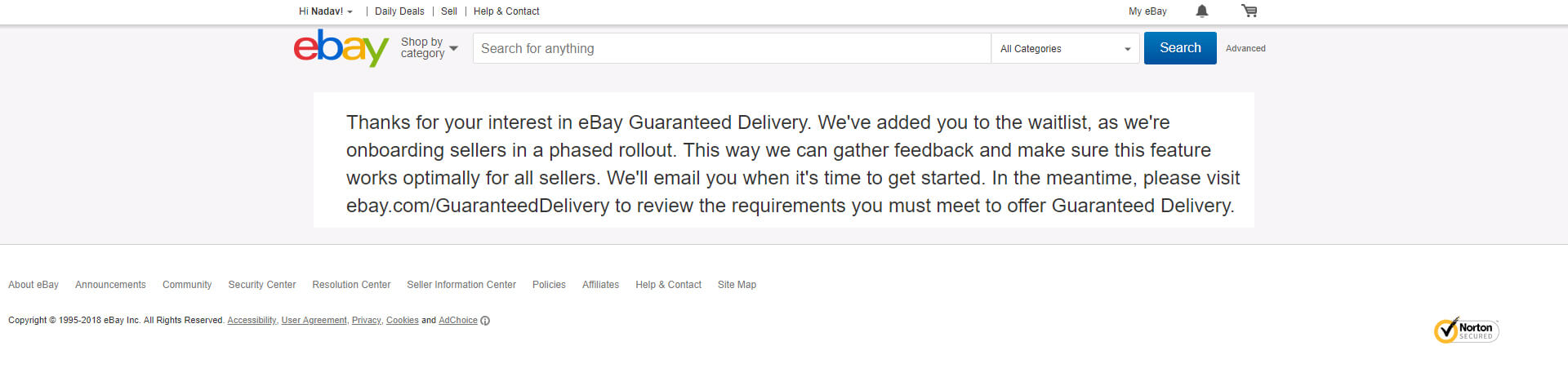 eBay Guaranteed Delivery opt in