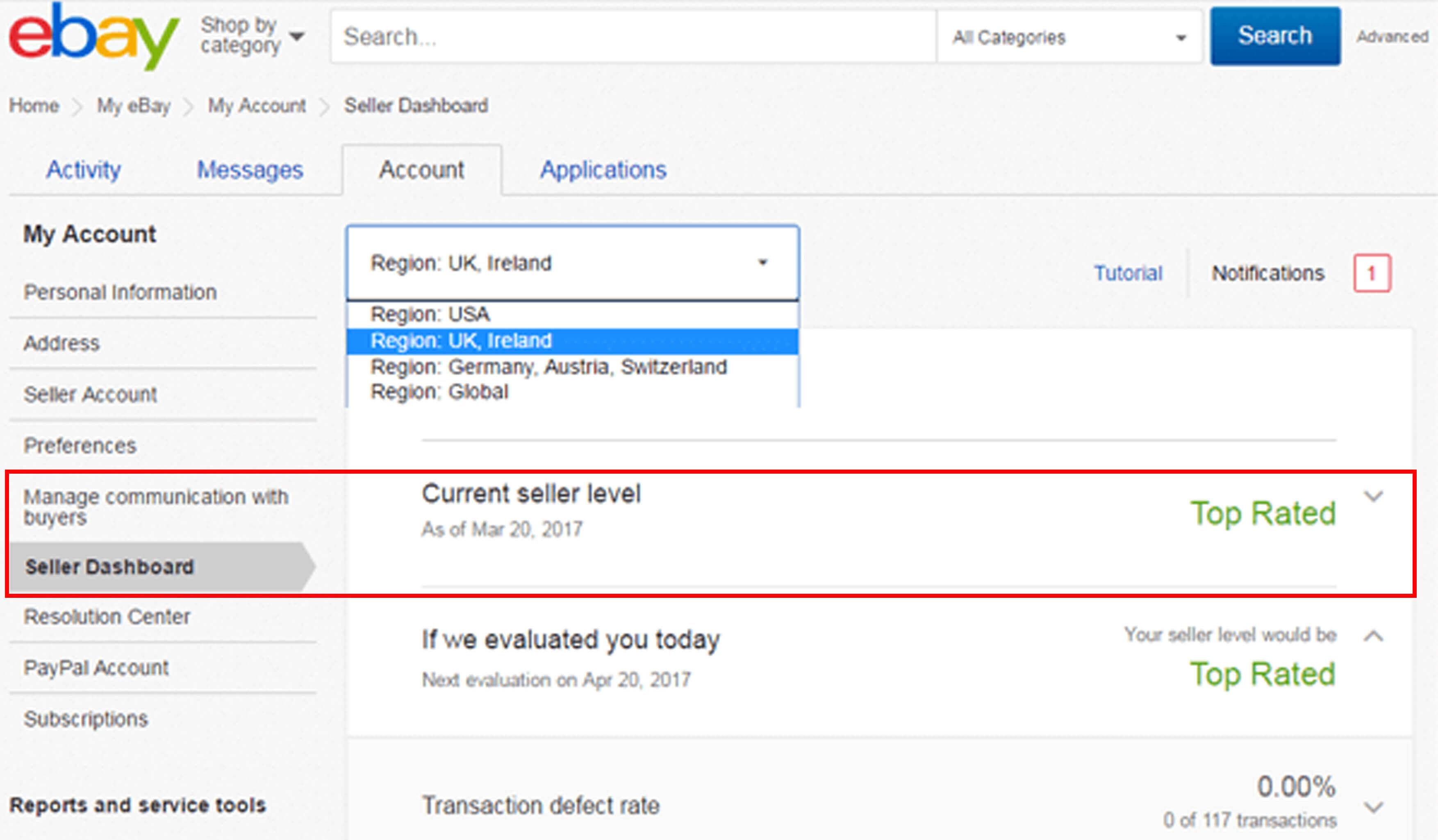 ebay seller dashboard top seller