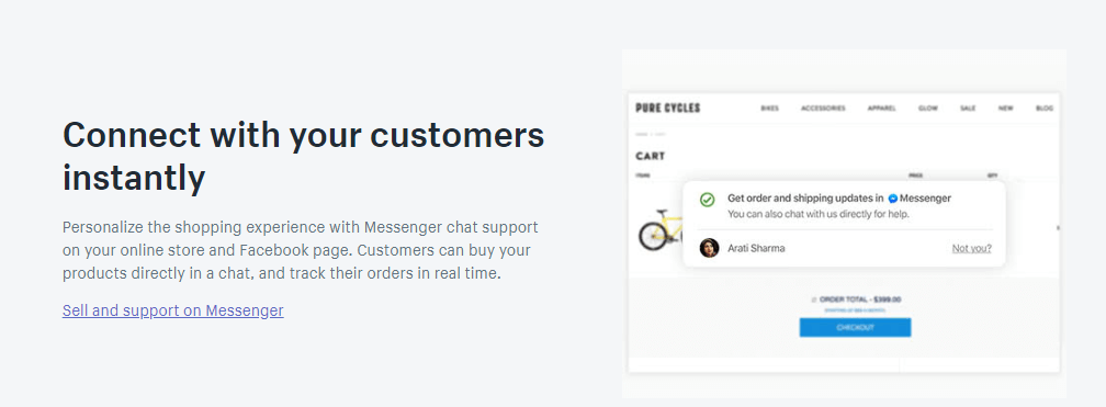 shopify lite Messenger Support