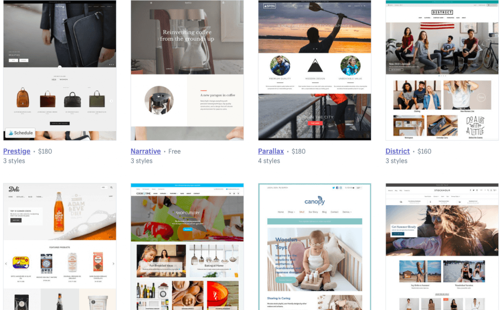 shopify themes examples