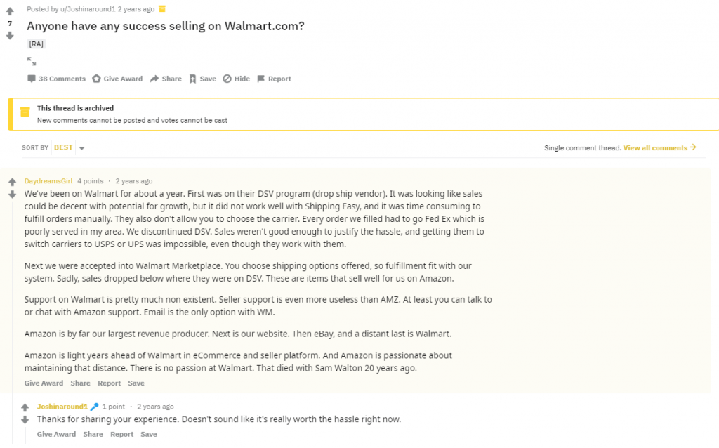 walmart seller support bad