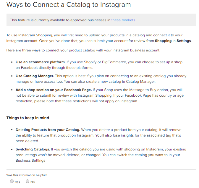 connect instagram catalog